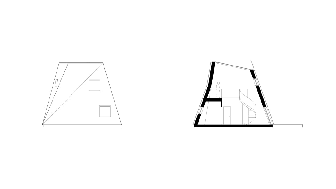 nexus house architect drawing elevation facade section studio void