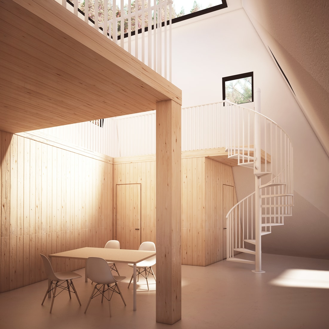nexus contemporary tower wooden house interior