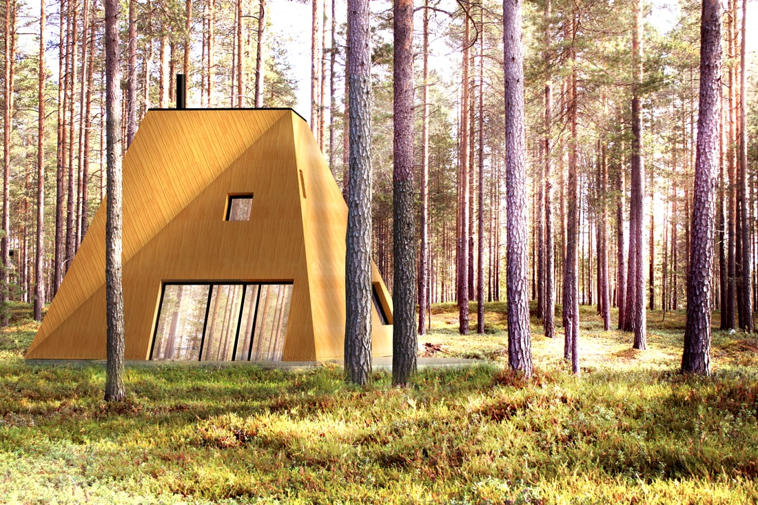 nexus contemporary wooden house in wild forest nature