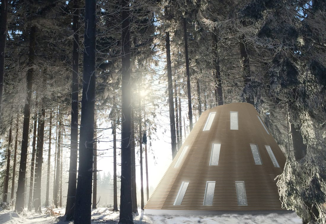 Pulsar contemporary wooden house in a forest on snow in wild nature