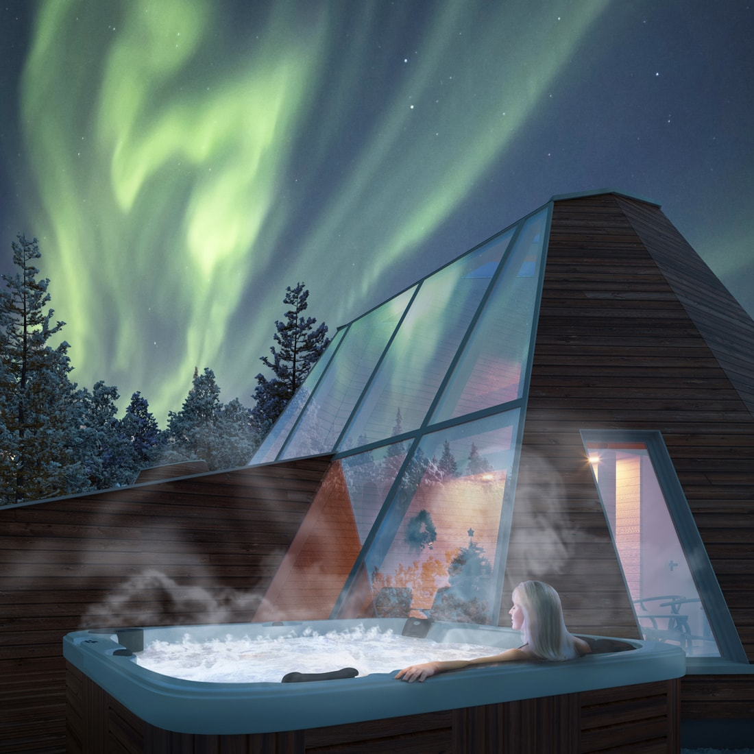 Snowman World Glass Resort in Santa Village Rovaniemi Lapland in winter jacuzzi and glass igloo