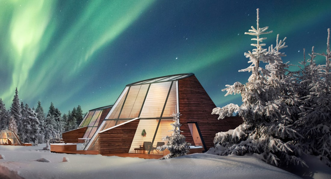 Snowman World Glass Resort in Santa Village Rovaniemi Lapland wooden house