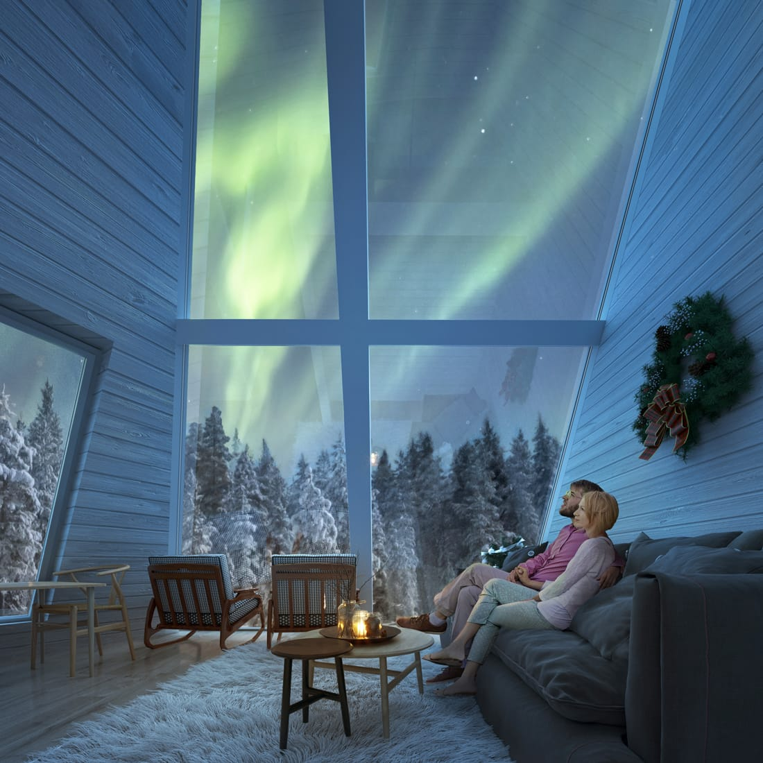 Snowman World Glass Resort in Santa Village Rovaniemi Lapland interior luxury