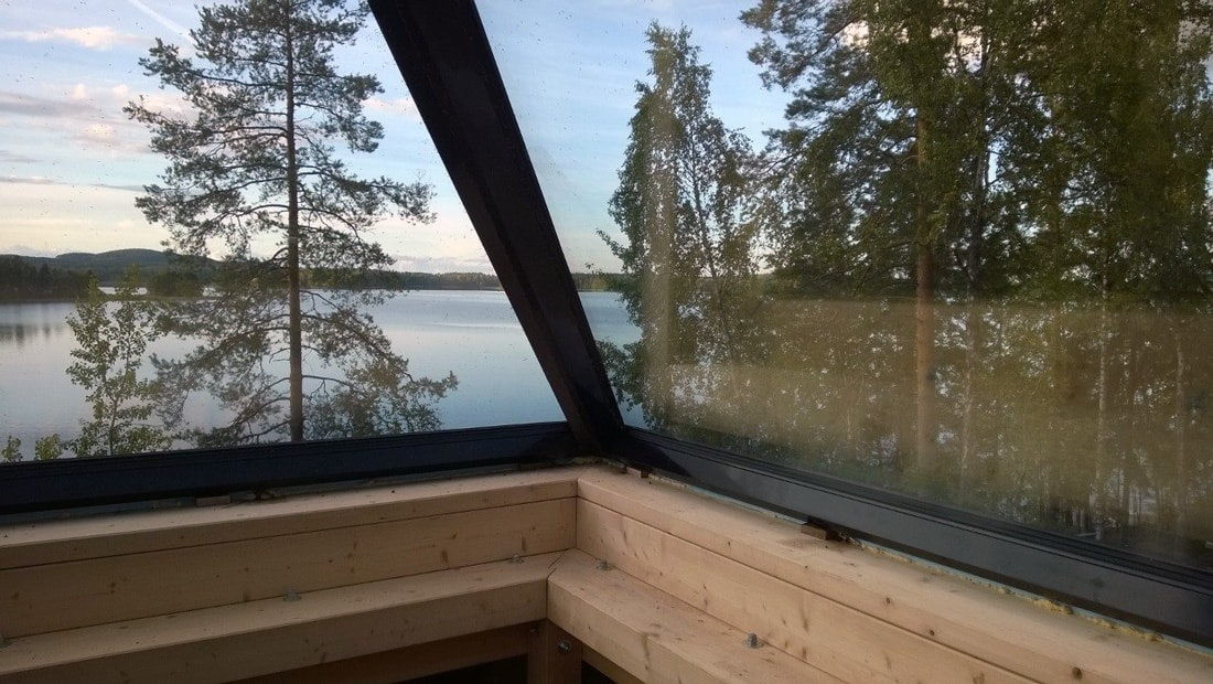 pyramid house finland wooden glass observatory lake