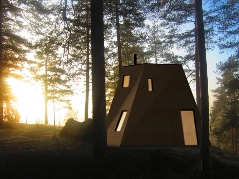nexus contemporary wooden house at dusk on lake in nature forest
