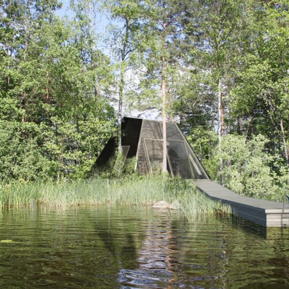 pulsar contemporary wooden sauna house in a forest on lake in wild nature