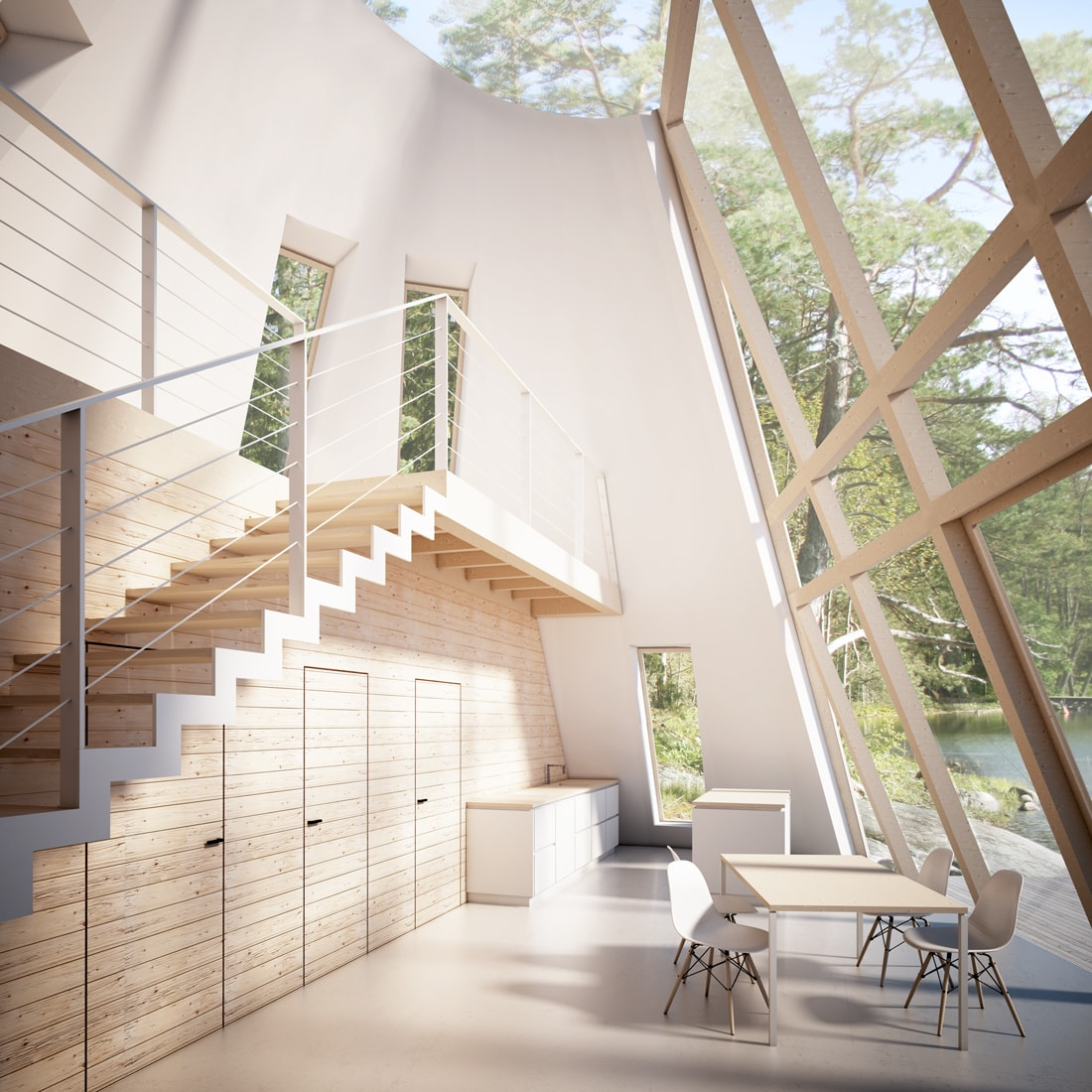 pulsar house interior view finnish nature void